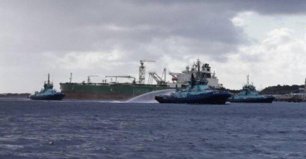 Big oil tanker burns in Norway