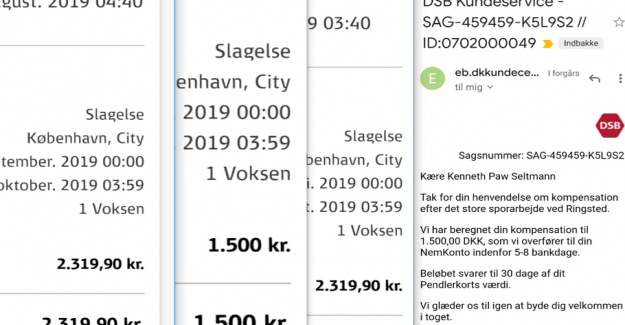 Kenneth thought he should have 819 kr. from DSB: Got 19 kr.