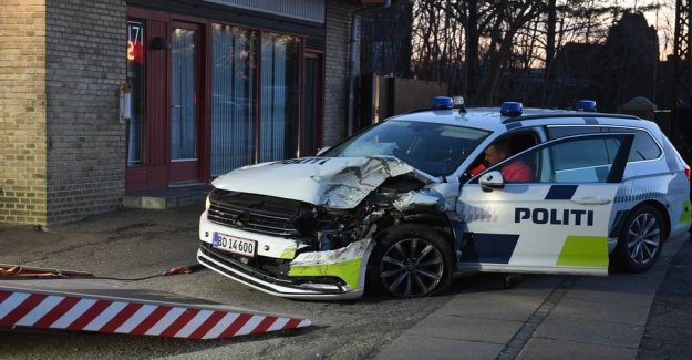 Police car and taxi in the accident