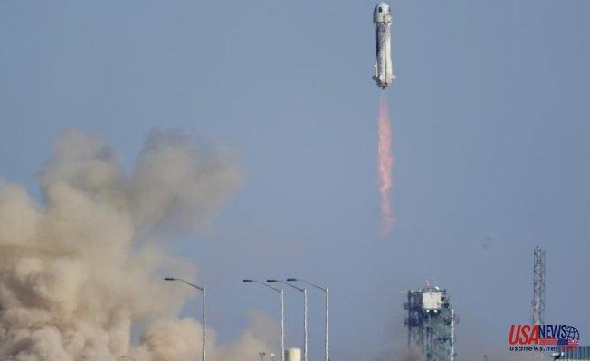 William Shatner, TV's Captain. Kirk blasts into space