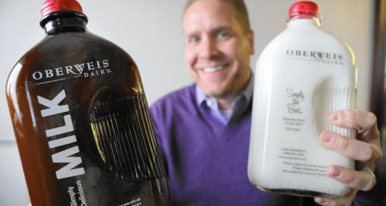 Amber is the new clear for Oberweis Dairy's milk in grocery stores