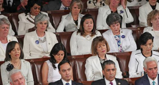 Female Democrats wear white to Trump speech in honor of suffragettes