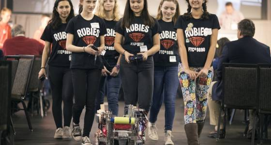 Girls help shatter stereotype at robotics industry expo