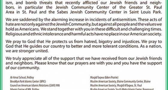 In large ad, Muslims in Twin Cities send prayers to Jews affected by bomb threats