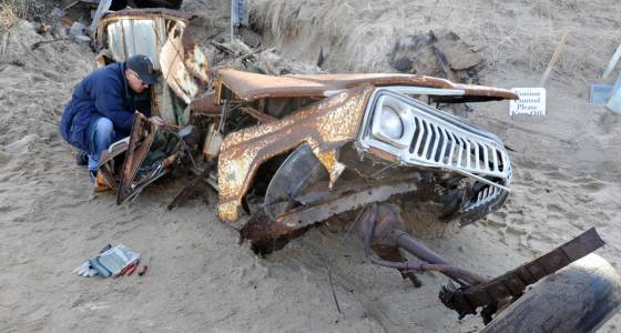 Jeep buried in sand dune finally dug out after 40 years