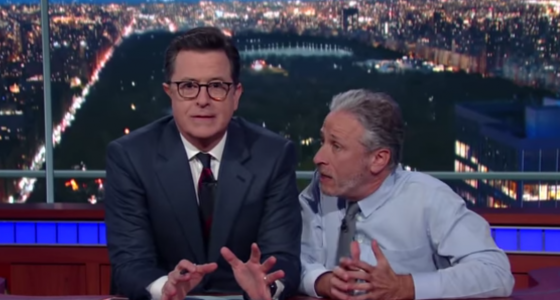 Jon Stewart returns to 'Colbert' to slam Trump's relationship with media