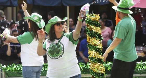 La Villita and the San Antonio River turn green in honor of St. Patrick
