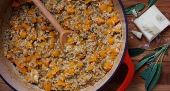 Make Butternut Squash Risotto with brown rice for a healthier dish
