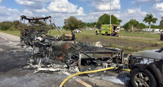 NB lanes on I-75 in Gibsonton closed after RV catches on fire