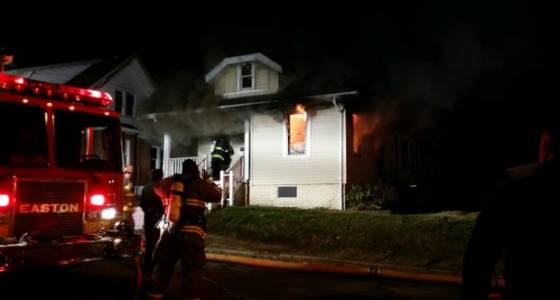 Neighbor, firefighter treated following South Side Easton house fire
