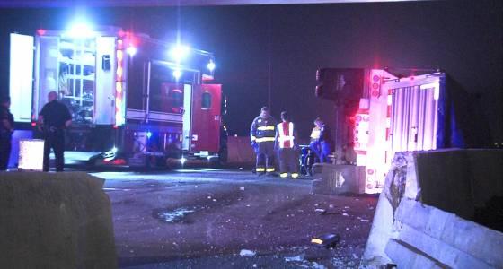 Overturned 18-wheeler spills diesel, shuts down lanes on Highway 90 on the far West Side