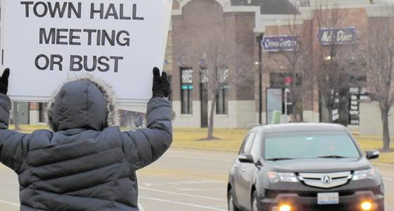Protesters call for town hall meeting; Hultgren says they follow a 'playbook' to disrupt