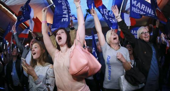 'Oui, oui, oui!': At Marine Le Pen's victory party when she won a spot in France's presidential runoff