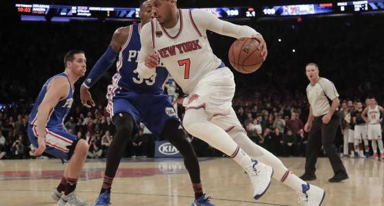 Anthony rescues Knicks vs. 76ers