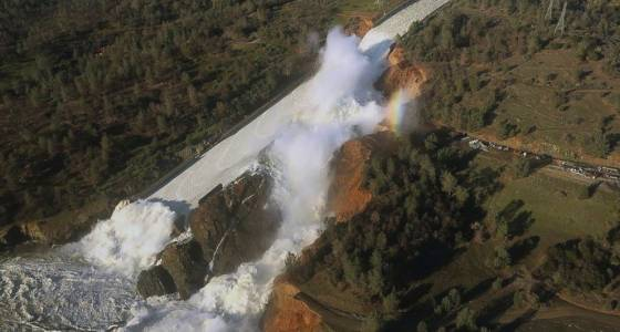 California dam spillway water shut off to clear debris