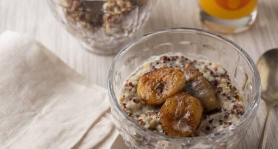 Caramelized bananas add glamour to breakfast grain bowl