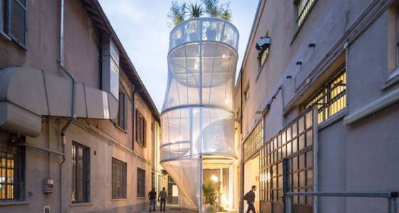 Flat pack house has breathable skin that filters light & air