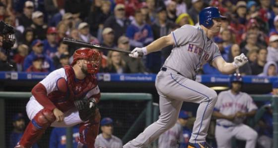 Mets' right fielder Jay Bruce took grounders at first base. How did he do?