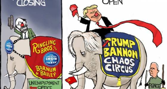 Pence on clean-up duty for Trump and Bannon: Darcy cartoon