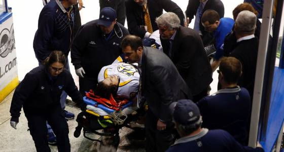 Preds' Fiala out of playoffs with broken leg