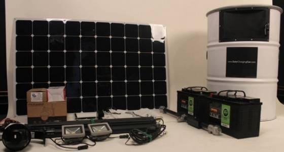 Steel drum contains a complete solar charging station for off-grid & remote power