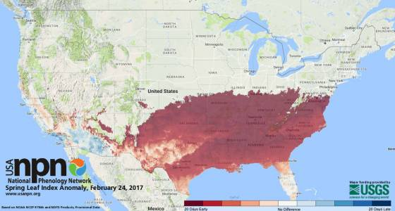The U.S. Geological Survey hails an early spring — and ties it to climate change