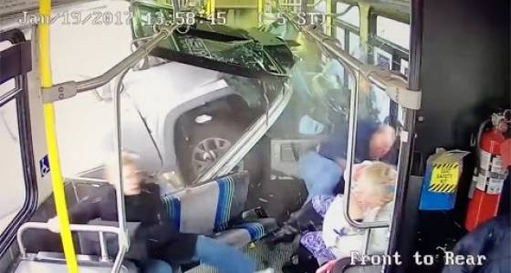 Watch: Truck crashes into bus in New York, and other near-misses